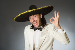 Der tragende Sombrerohut der Person im lustigen Konzept Lizenzfreie Stockfotografie