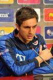 Der Trainer und die Spieler Rumäniens des nationalen Fußball-Teams Lizenzfreie Stockbilder
