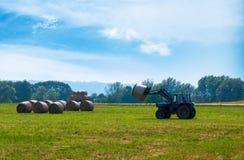 Der Traktor auf dem Feld erfasst Heu Lizenzfreie Stockbilder