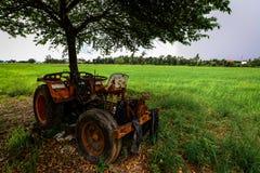 Der Traktor auf dem Reis-Getreidefeld Lizenzfreies Stockbild