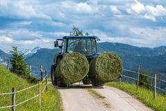 Der Traktor, der die Ballen des Grases von der Wiese bewegt Stockfoto