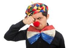 Der traurige Clown lokalisiert auf dem Weiß Lizenzfreie Stockbilder