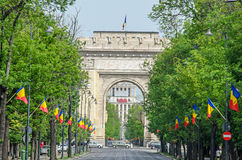 Der Triumphbogen Arcul de Triumf von Bukarest Rumänien Stockfotografie
