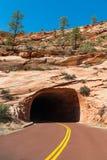 Der Tunnel auf der Straße in Zion Park lizenzfreie stockfotos