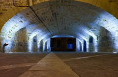 Der Tunnel, der Kai und Aufzug Lascaris an den oberen Barra anschließt Lizenzfreies Stockfoto
