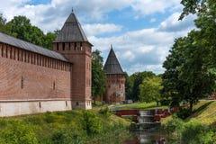 Der Turm des Donners, Bublake-Turm und Festungswand des Smolensks der Kreml, Smolensk, Russland Lizenzfreie Stockbilder