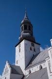 Der Turm von Budolfi-Kirche, Aalborg, Dänemark Lizenzfreie Stockbilder