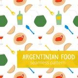Der typischen nahtloses Muster Lebensmittel-Art des Argentiniers mit Wein, Glas Wein, empanadas, Fleisch und Kameraden in den hel Stockfoto