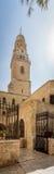 Der UhrGlockenturm der Dormitions-Abtei in Jerusalem, Israel Lizenzfreies Stockfoto