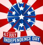4. der Unabhängigkeitstag-Flaggen-Fahnenillustration Julis USA lizenzfreie abbildung