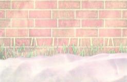 Der unerwartete Blizzard hat mit Schnee bedeckt, den ich ein Gras grün bin Lizenzfreies Stockfoto
