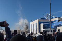 Der unfertige Fernsehturm in Jekaterinburg in Russland wurde 03/24/2018 zur Detonation gebracht Lizenzfreie Stockbilder