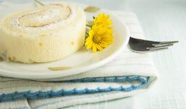 Der Vanillerollenkuchen Stockfoto