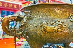 Der Vase für insence haftet, Tempel Chinese Guanyin Gumiao, Yang stockfoto