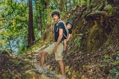 Der Vater trägt seinen Sohn in einem Baby, welches das Tragen im Waldtouristen trägt ein Kind auf seinem zurück in Form VI wander stockfotografie