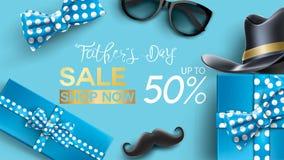 Der Vatertag Plakat glückliche Förderung des Vatertags, des Verkaufs kreatives oder Einkaufsentwurf schablone der Fahne mit 50% w