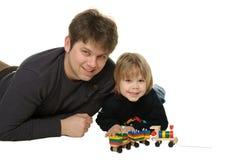 Der Vati mit dem Sohn Stockfoto