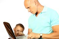 Der Vati und der Sohn haben am Internierten teilgenommen Lizenzfreie Stockfotografie