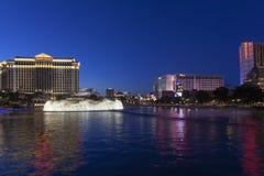 Der vegas-Streifen, wie vom Bellagio in Las Vegas, Nanovolt auf MA gesehen stockbild