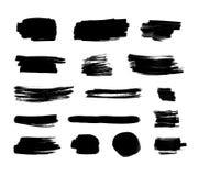 Der Vektor-Schwarz-Tinten-Satz, lokalisiert auf weißem Hintergrund, bürsten Anschläge lizenzfreie abbildung
