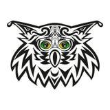 Der Vektorkopf einer Eule, ein Nachtraubvogel, ein Tier mit grünen Augen, eine Illustration eines Uhus Stockfotos