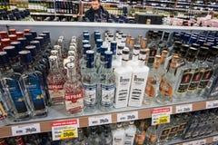 Der Verkauf des Alkohols Stockfotografie