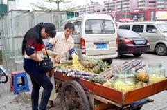 Der Verkauf des Zuckerrohrs und der Ananas Stockbilder
