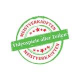 Der Verkaufsaufkleber/-ausweis des Videospiels ständig deutsche Sprach Stockfotografie
