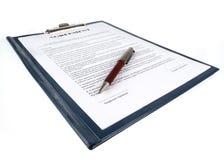Der Vertrag (Vereinbarung) lizenzfreies stockbild
