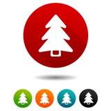 Der verzierte Pelzbaum Weihnachtsbaumzeichen Feiertagssymbol Vektor-Kreisnetzknöpfe stock abbildung