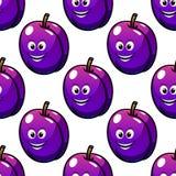 Der violetten nahtloses Muster Pflaumen-Frucht der Karikatur Stockbild