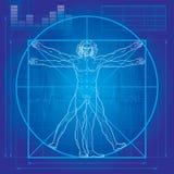 Der Vitruvian Mann (Lichtpauseversion) Stockfotografie