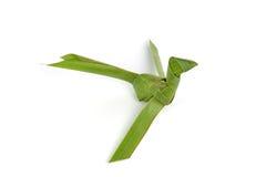 Der Vogel, der von der Kokosnuss gemacht wird, verlässt auf weißem Hintergrund Lizenzfreie Stockfotografie