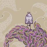 Der Vogel ist in einer Yogaposition Vrikshasana Lizenzfreies Stockfoto