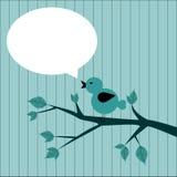 der Vogel mit dem Aufkleber zu schreiben Lizenzfreies Stockfoto
