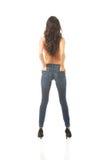 Der in voller Länge hemdlose Frau hinteren Ansicht stockfotografie
