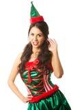 Der in voller Länge tragende Elfe Frau kleidet und hält ein Bündel des Haares Stockbilder