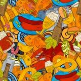 Der von Hand gezeichneten flüchtigen nahtloses Muster Gekritzel-Sammlung des Bieres lizenzfreie abbildung