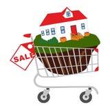 Der Warenkorb mit dem Haus Lizenzfreie Stockfotos