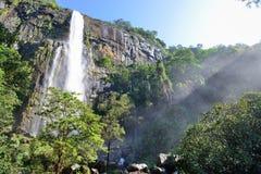 Der Wasserfall mit Sonnenlicht Stockbild