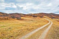 Der Weg auf der Herbstwiese Lizenzfreie Stockfotos