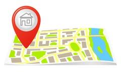 Der Weg auf der Karte der Stadt. Lizenzfreie Stockfotos