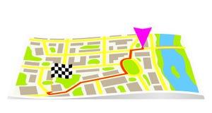 Der Weg auf der Karte der Stadt Stockbilder