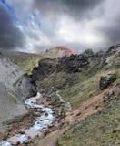 Der Weg läuft entlang den moosigen Bergabhang Stockbilder