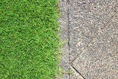 Der Wegweg im Park mit grünem Gras Lizenzfreie Stockbilder