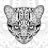Der weiße Druck des Schwarzen und der Wildkatze mit ethnischen zentangle Mustern Malbuch für die Erwachsenen antistress Kunstther Lizenzfreie Stockfotografie