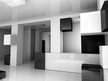 Der weiße Innenraum ist schwarz Lizenzfreies Stockbild