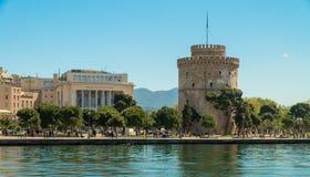Der weiße Turm des Symbols und des Marksteins Saloniki-Stadt lizenzfreies stockfoto