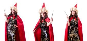 Der weibliche Magier lokalisiert auf Weiß Stockfotos
