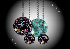 Der Weihnachtshintergrund mit Discobällen Lizenzfreies Stockfoto